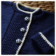 Love the gingham buttons! Free Knitted Baby Sweater Pattern on Ravelry