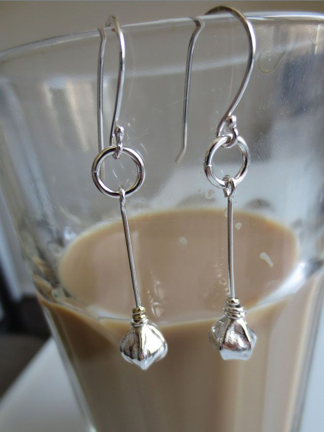 Morning latte. Simple long Tilia-earrings in fine silver