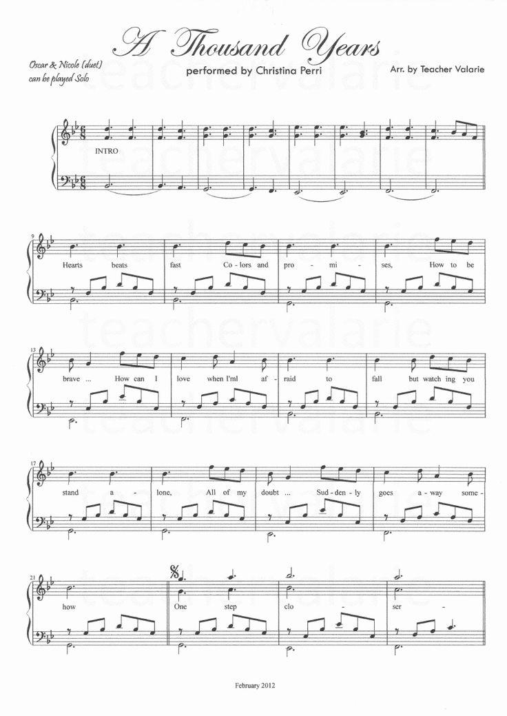 a thousand years piano sheet music pdf