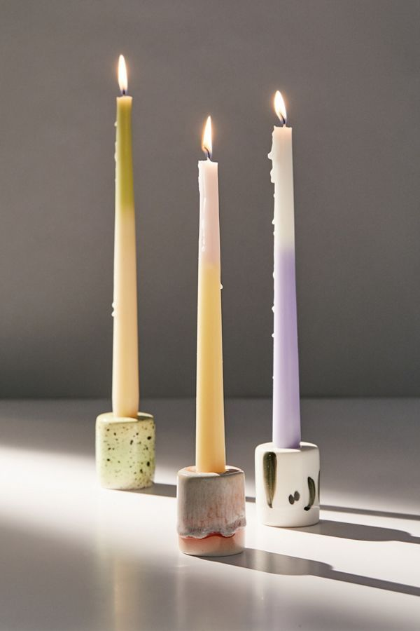 Reactive Ceramic Taper Candle Holder In 2020 Clay Candle Holders Clay Candle Polymer Clay Candle Holder
