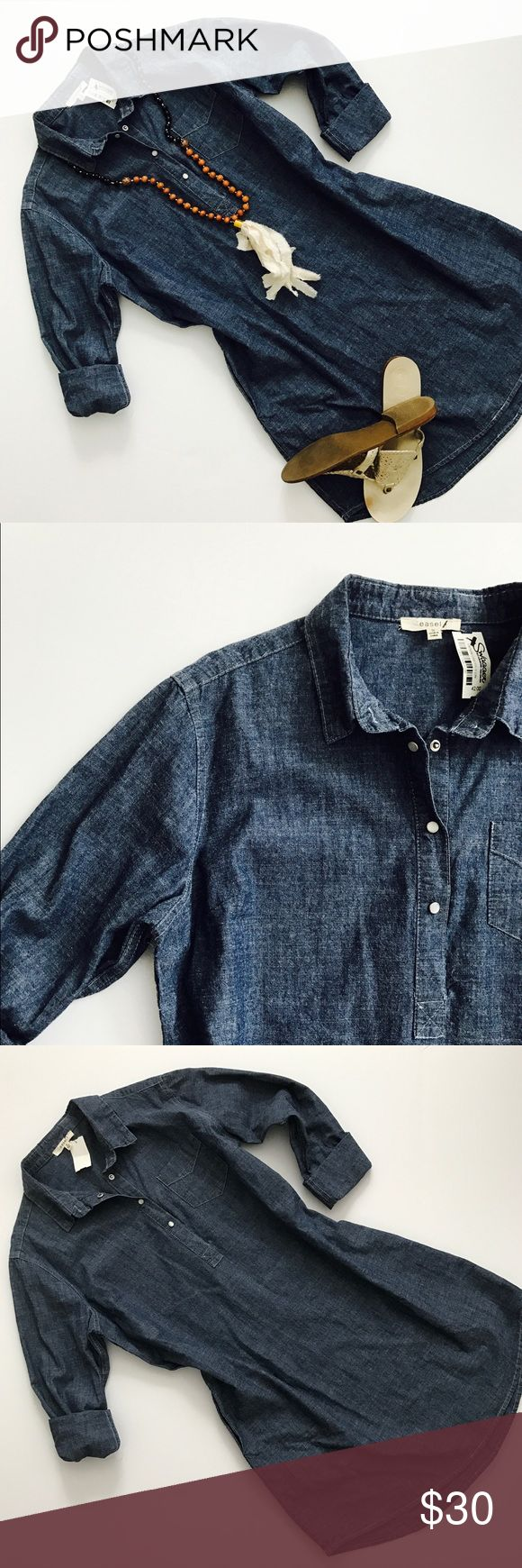 Denim Shirt Dress NWT!  Super cute and versatile denim dress. Pop over style. Could be worn with a belt!  Wear the sleeves long in the fall with tall boots 😉 length is about 34 inches. ease Dresses