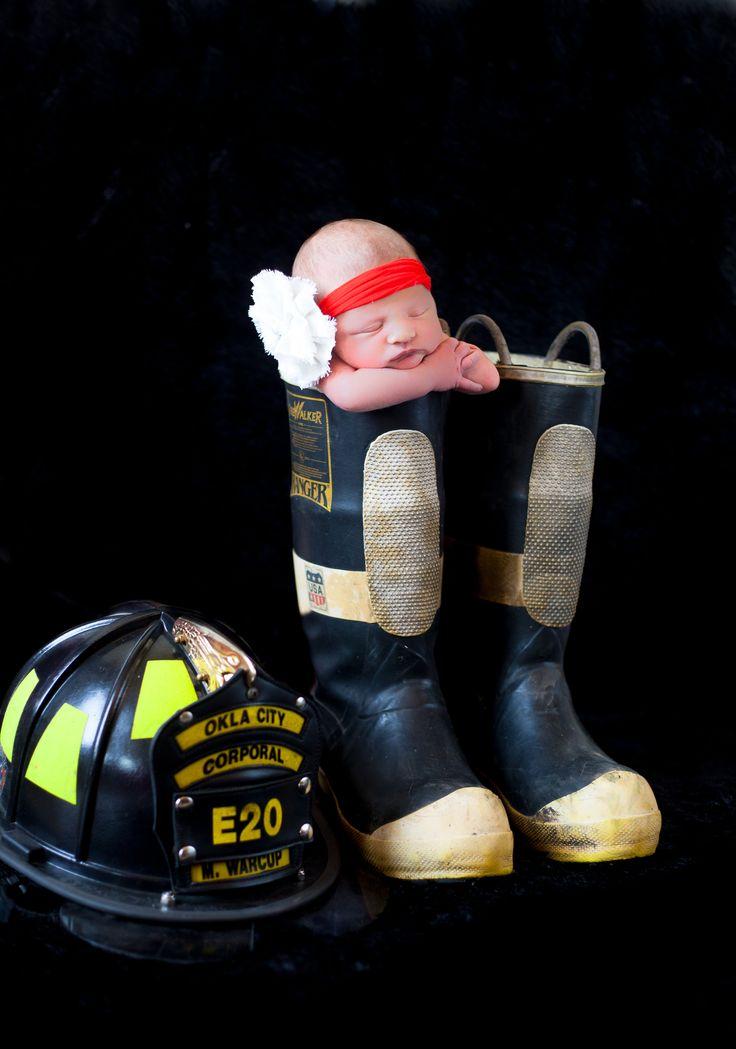 newborn photo idea    newborn prop   firefighter boots   Brianna Record Photography