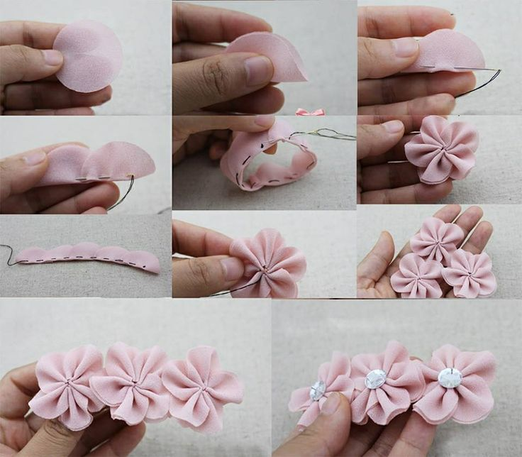 Fabric flower with easy stich