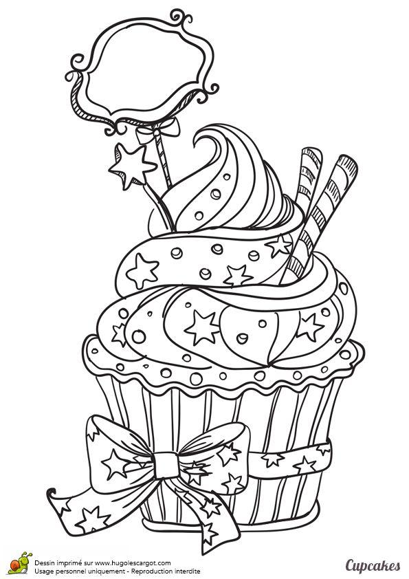 Un coloriage de cupcake scintillant parsemés de petite étoile qui brillent de mille feux - Hugolescargot.com