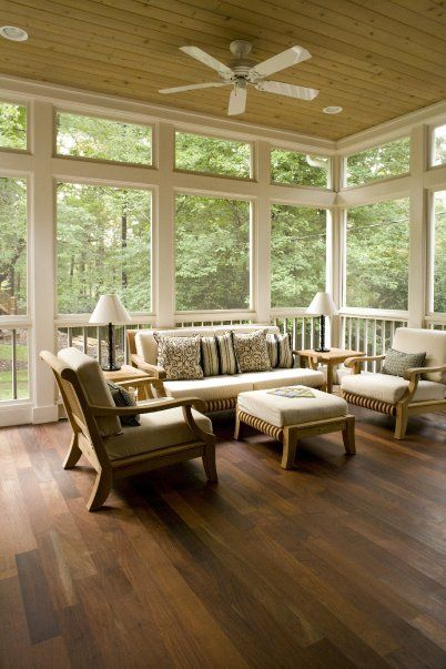 Screened in porch - love the thick wood trim and the wood beamed ceiling