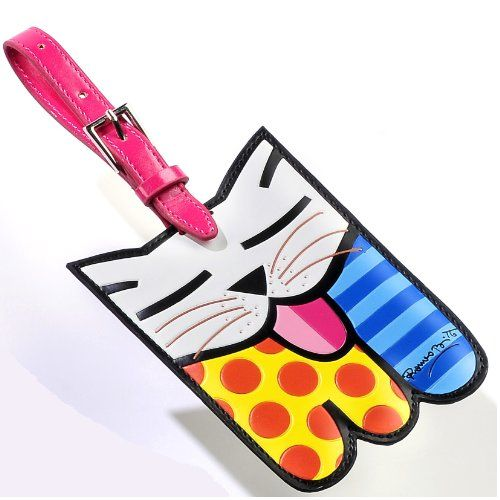Colorful nametag or luggage tag #travel #cat #cute #gift @Kitty Purring