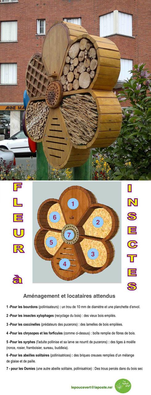 Love this flower shaped bee hotel, with many different nooks and crannies for all the different species of native bees. Very clever!