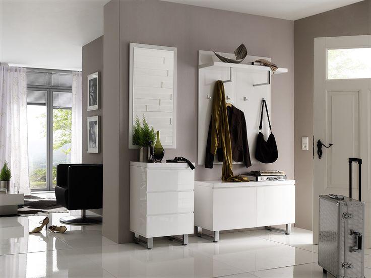 Garderobenpaneel Bianco II Hochglanz weiß passend zum Möbelprogramm Bianco 1 x Garderobenpaneel mit 1 Ablageboden 2 Kleiderstangen und 4 Kleiderhaken Maße: B/H/T ca.... #flur #garderobe