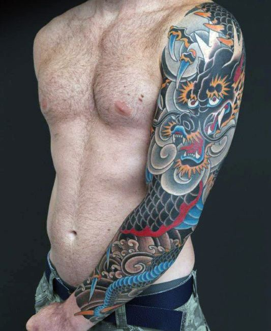 100 Dragon Sleeve Tattoo Designs For Men                                                                                                                                                                                 More
