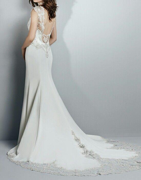 Robe de mariée en dentelle brodée, tissu satin stretch
