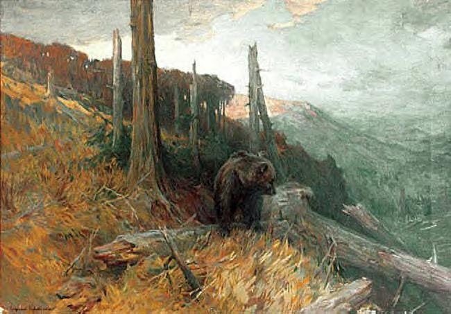 """Zygmunt Ajdukiewicz """"Niedźwiadek"""", olej na płótnie, 71 x 100 cm, własność prywatna"""