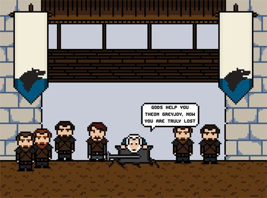 "The beheading of Ser Rodrik. | ""Game Of Thrones""' 14 Most Brutal Deaths, As 8-Bit GIFs"