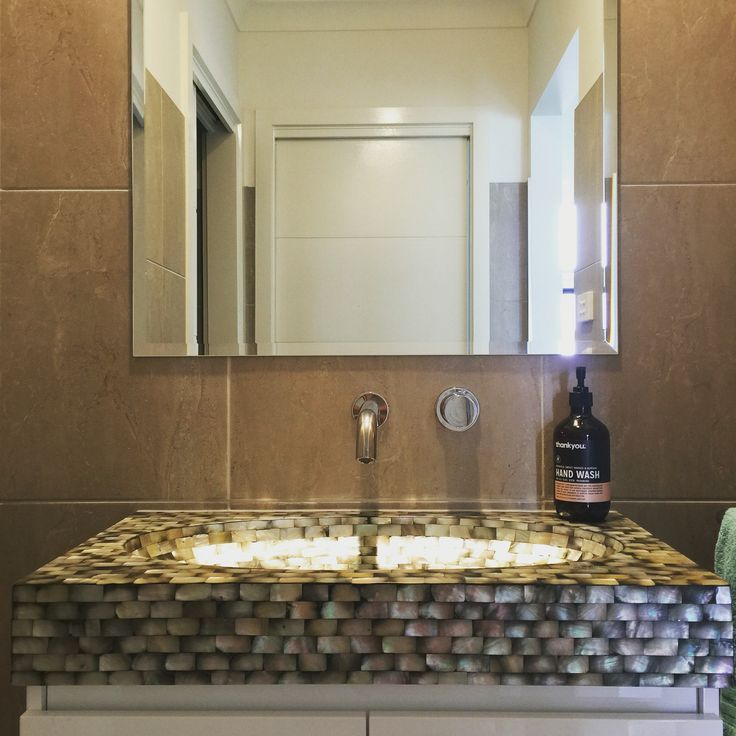 Very happy with the result of our powder room hand basin. #powderroom #handbasin #shells