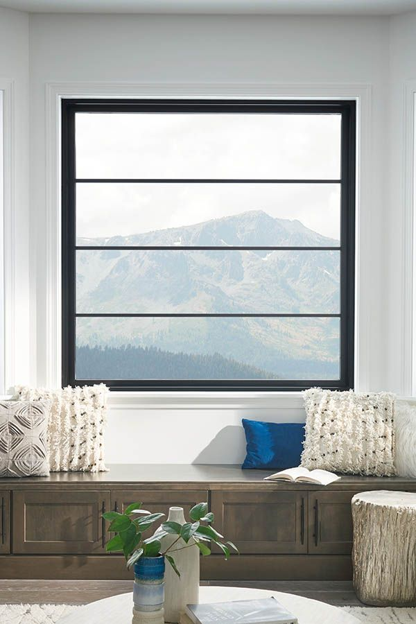 Mountain Top View Through Black Interior Window Windows Interior Windows Windows Exterior