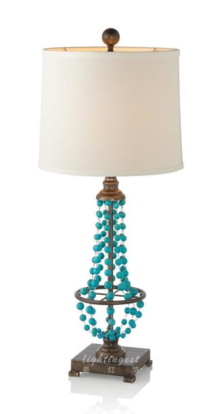 American Mediterranean desk lamp【最灯饰】美式地中海异域绿松石新款设计师样板房台灯