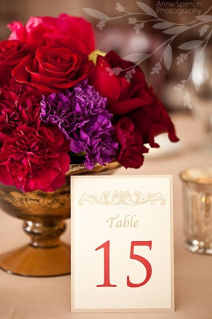 Red and purple floral centerpiece in antique gold vase  Photo Credit: Anna and Spencer Photography  {Wedding Planning: www.ashleybaberweddings.com}: Floral Centerpieces, Spencer Photography, Low Centerpieces, Photography Wedding, Flowers Colors, Vibrant Colors, Tables Numbers, Antiques Gold, Table Numbers