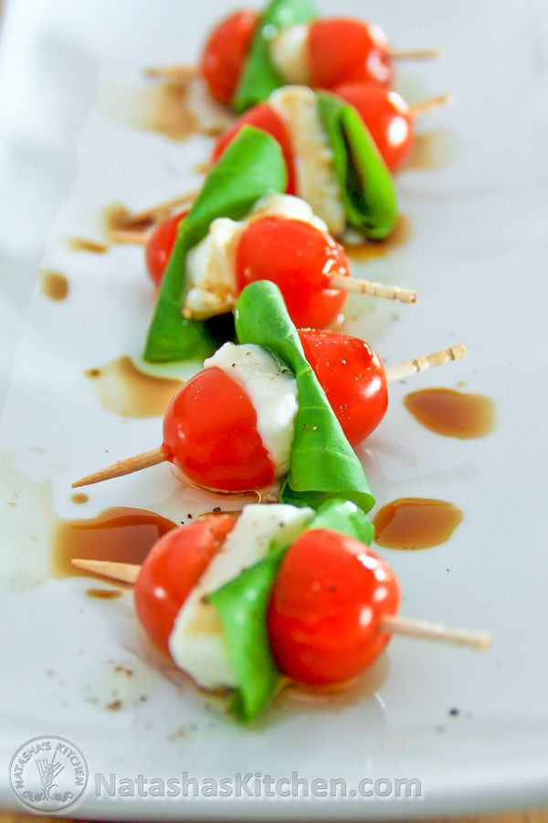 If you like caprese salad, you'll love this!! Caprese salad is Italian.If you want to be real fancy, you can call this Caprese Antipasto (Italian for appetizer). Caprese skewers are (1) healthy, (2) easy and (3) super tasty. And aren't they cute? I served these...