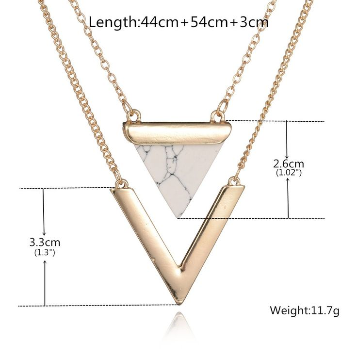 Women Gold Plated Punk Necklaces From India Hot Geometric Triangle Faux Marble Stone Pendant Necklace Vintage Jewelry-in Pendant Necklaces from Jewelry & Accessories on Aliexpress.com | Alibaba Group