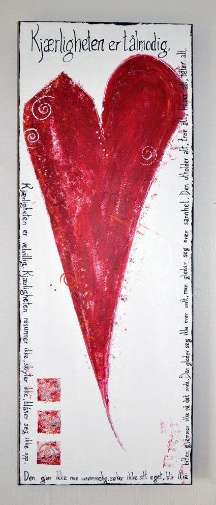 """Akrylbilde. """"Kjærligheten er..."""" 30 x 80 cm. 650,- Maler på bestilling. Se mer på kreativthus.no"""