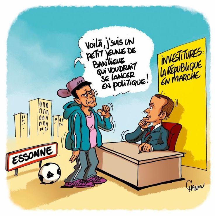CHAUNU @ChaunuShow (2017-05-10) France:   La candidature de @ manuel valls #EnMarche #legislatives2017 # Emmanuel  macron   ÷÷÷ Dessin du jour dans @UnionArdennais et @OuestFrance.