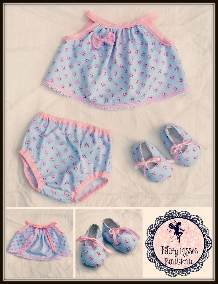 Newborn Set: Babydoll tie-up dress, matching nappy cover and tie up shoes