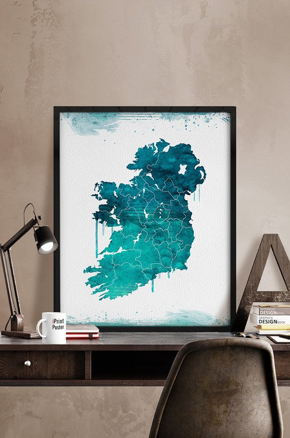Ireland map print, Art, Watercolor, Ireland map watercolor, Poster, Gift, Illustration, Wall hanging, Wall art, Home Decor, iPrintPoster.  Art