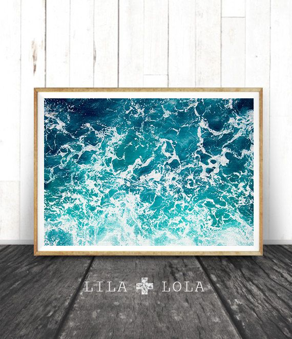 Ocean Print, Ocean Art, Ocean Waves Wall Art Print, Ocean Water, Large Printable Poster, Beach and Coastal Decor, Photography, Lila and Lola