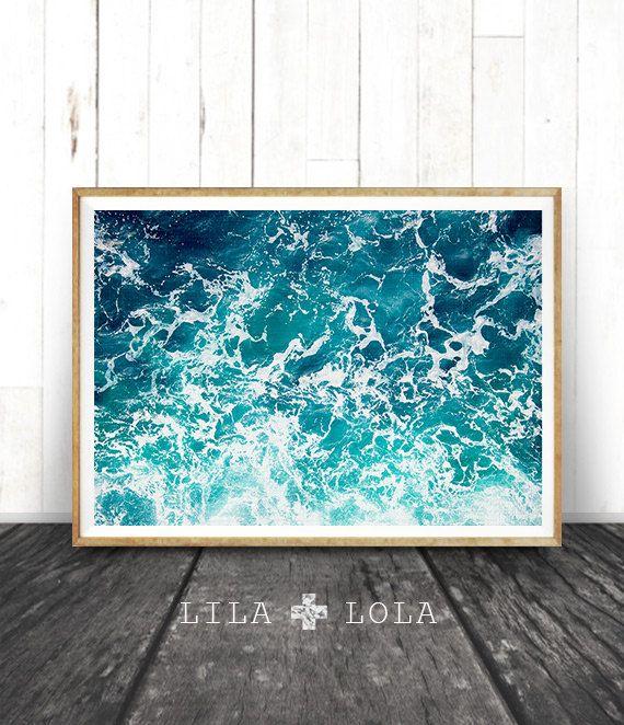 Ocean Print, Ocean Art, Ocean Waves Wall Art Print, Ocean Water, Large Printable Poster, Beach and Coastal Decor, Photography, Lila and Lola