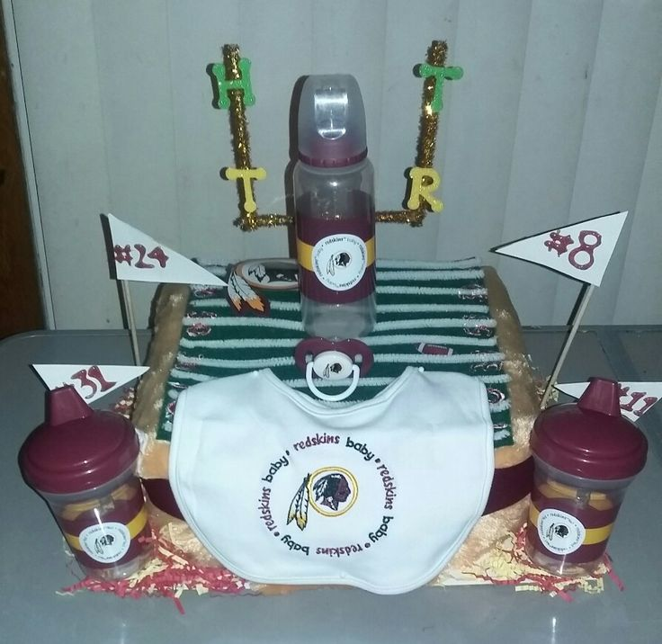 Redskins Diaper Cake Designed by: Candis Davis  (Facebook) @swaddlediapercakes  (IG) Email: swaddlediapercakes@gmail.com