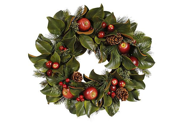 24 Pinecone Apple Foliage Wreath On