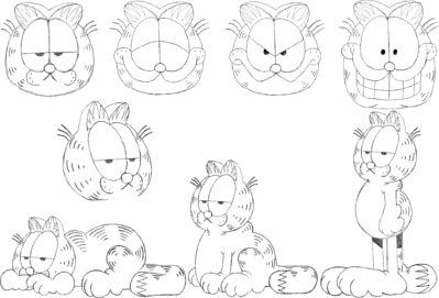 how to draw garfield face