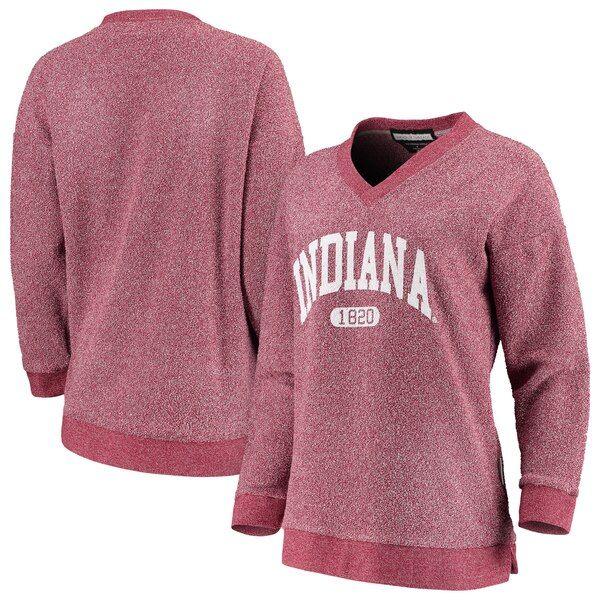 Indiana Hoosiers Woolly Threads Women S The Campus V Neck Pullover Sweatshirt Crimson Indianahoosiers Sweatshirts Pullover Pullover Sweatshirt