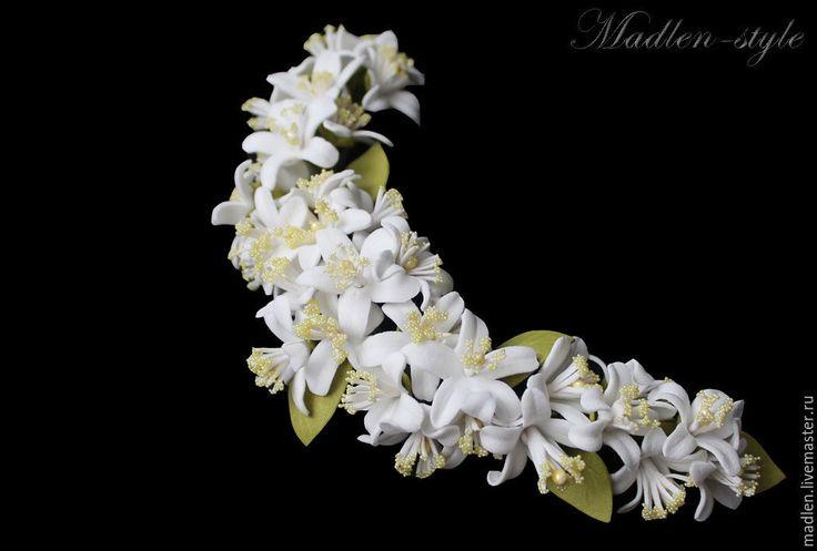 """Купить Веночек """"Апельсинка"""" - веночек для невесты, полученочек, свадебный веночек, свадебное украшение, свадебные цветы"""