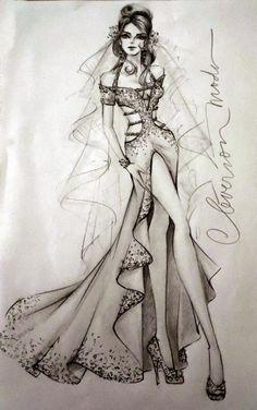 DESENHOS DE MODA: Desenho de moda. Vestido de noiva ousado.