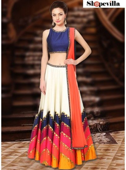 Navaratri Collection Navy Blue Colour Rawsilk Lehenga Choli-FKFBL067