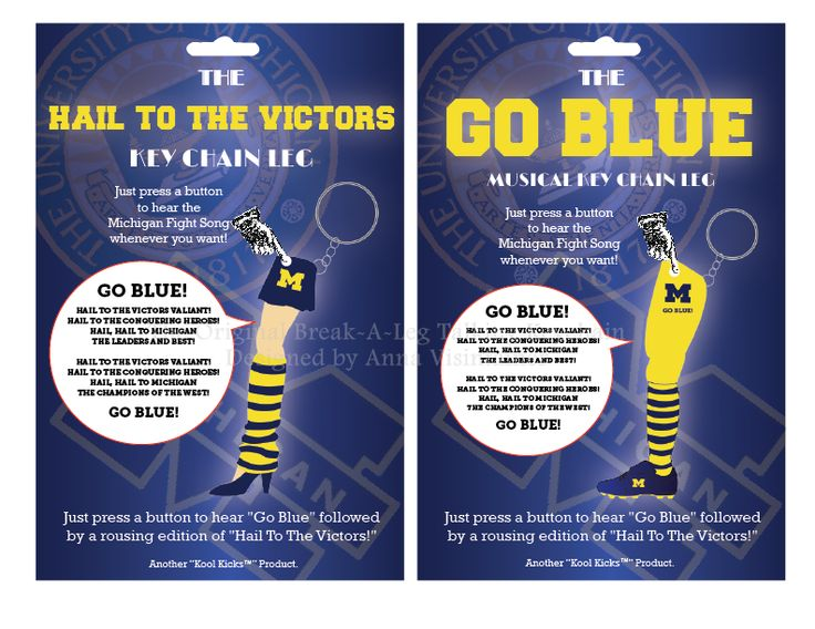 Two versions of The University of Michigan Fight Song Leg with packaging. https://www.facebook.com/pages/The-Original-Break-A-Leg-Talking-Keychain/522742781136446