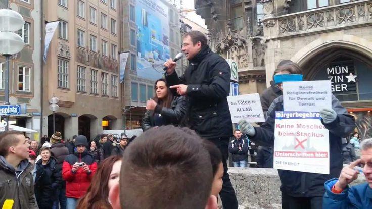 Moslems rasten aus - FREIHEIT Marienplatz München 16.2.2013