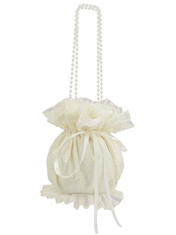 bride wristlets bag bridal ivory lace clutch by FashionForWomen