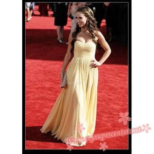Jennifer Love Hewitt Yellow Strapless Formal Dress 2009 Emmy Awards $129.99 each at Mysupercenter.net