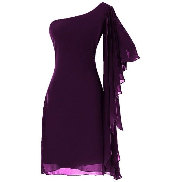 Gorgeous Bridal Women's One Shoulder Chiffon Party Dress Gown Short (735 SEK) ❤ liked on Polyvore featuring dresses, brides dresses, chiffon dresses, one sleeve dress, chiffon cocktail dresses and one shoulder chiffon dress