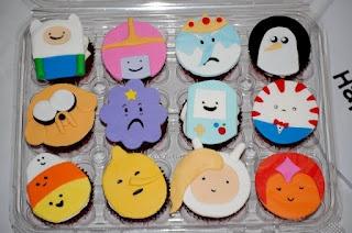 Adventure Time cupcakes!!!!! Finn, Princess Bubblegum, Ice King, Gunther, Jake, Lumpy Space Princess, B-Mo, Peppermint Butler, Candycorn Person, Lemongrab, Fiona, and Flame Princess