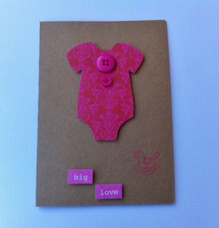 Handmade Baby Card - Baby Shower Card - Pink Onesie Card - New Arrival Card - Handmade by HandmadeByLana on Etsy
