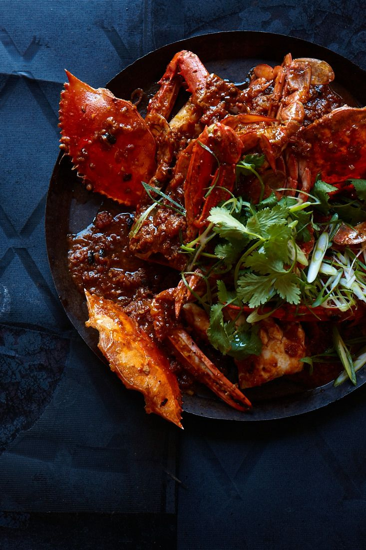 chilli & black bean blue swimmer crabs.