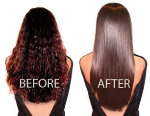Dark long hair before and after of a Brazilian Blowout