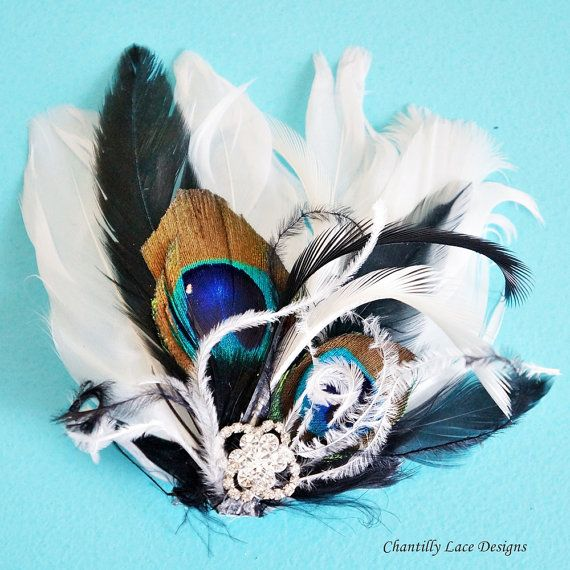 Small White Black Peacock Feather Hair Clip fascinator www.ChantillyLaceDesigns.com from Canada