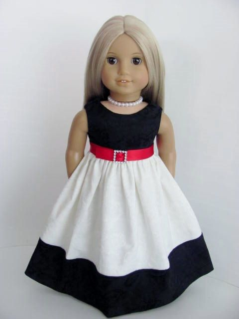 Black and Ivory White Damask Gown for the American Girl Doll