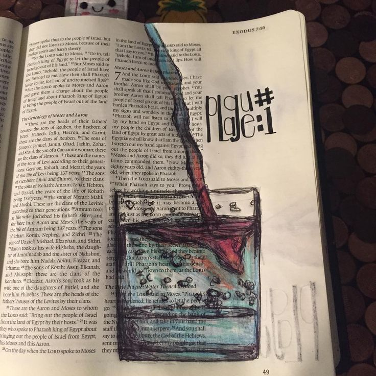 Day11b #illustratedaugust #biblejournaling The First Plague: turning water into…