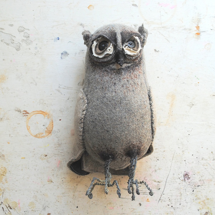 *** Grey Woodland Owl Textile Art made from Vintage soft grey blankets..check out Finch's cool etsy site