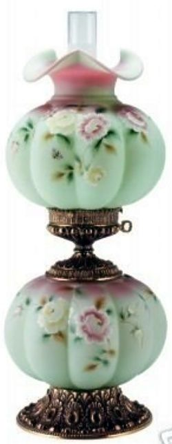 "Fenton ""Rose Nectar"" Gone-with-the Wind lamp"