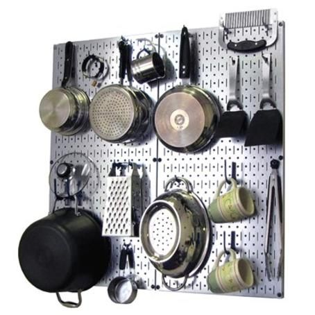 Wall Control GBU Kitchen Pegboard Organizer Pots And Pans Pegboard Pack  Storage And Organization Kit With Grey Pegboard And Blue Accessories *  Details Can ...